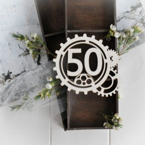steampunk collection gear frame with number 50 decorative laser cut chipboard