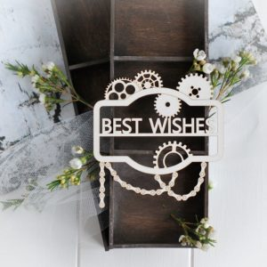 steampunk collection best wishes frame decorative laser cut chipboard