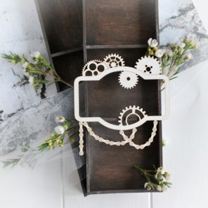 steampunk collection frame with gears decorative laser cut chipboards