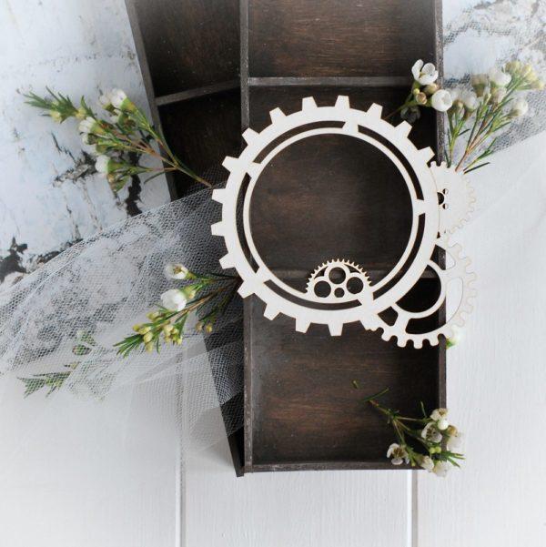 steampunk collection gear frame decorative laser cut chipboard