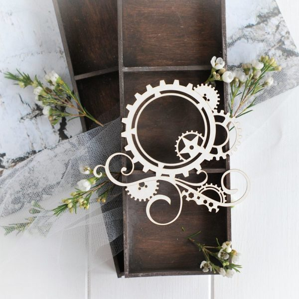 teampunk collection gear frame with swirls and gears decorative laser cut chipboard