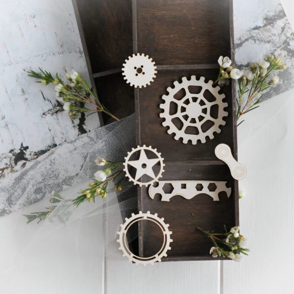 steampunk collection set of gears and elements decorative laser cut chipboards