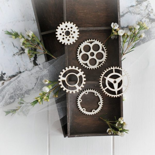 steampunk collection set of gears decorative laser cut chipboards