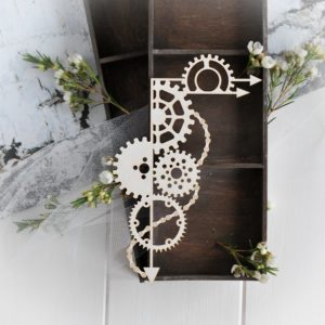 steampunk collection large corner with gears and arrows decorative laser cut chipboard