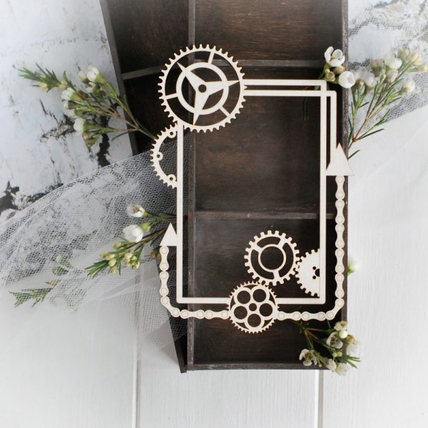 steampunk collection large frame with gears and arrows decorative laser cut chipboard