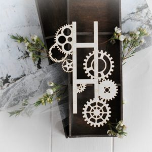 steampunk collection large photographic film with gears decorative laser cut chipboard