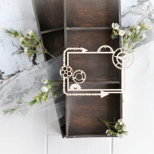 steampunk collection frame with gears and arrows decorative laser cut chipboard