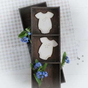decorative laser cut chipboard baby bodies with hearts and stars