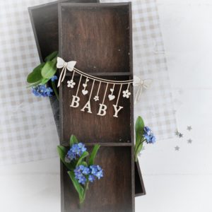 decorative laser cut chipboard baby banner with flowers and hearts