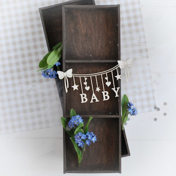 decorative laser cut chipboard baby banner with stars and bows