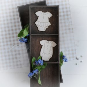 decorative laser cut chipboard set of two bodies for baby boy and baby girl