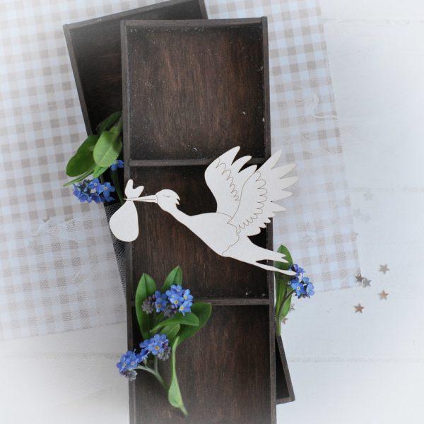 decorative laser cut chipboard stork
