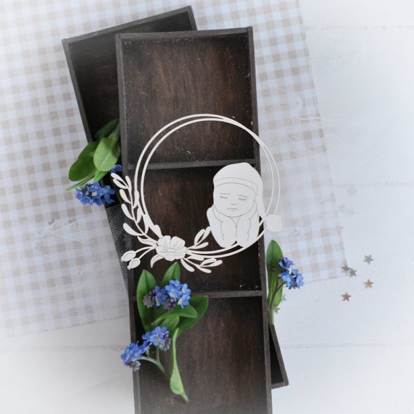 decorative laser cut chipboard frame with little boy and flowers