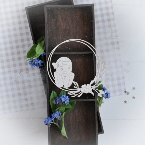 decorative laser cut chipboard frame with little baby girl and flowers