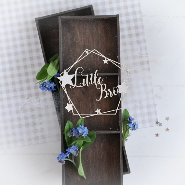 decorative laser cut chipboard little bro frame with stars