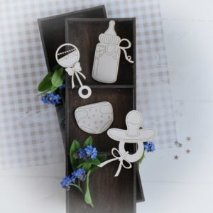 decorative laser cut chipboard elements dummy nappy rattle and bottle