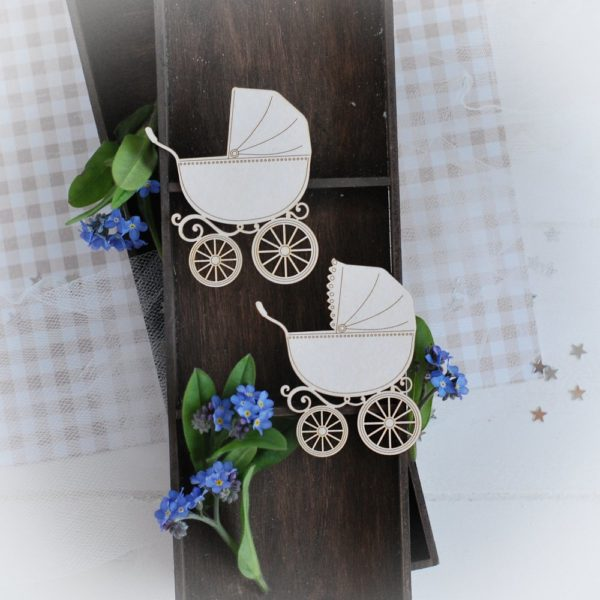 decorative laser cut chipboard set of two baby prams