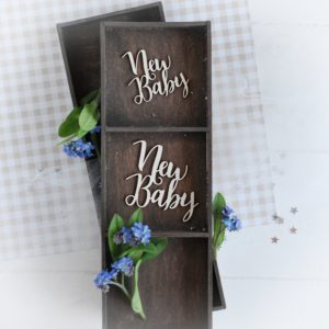 decorative laser cut chipboard set of two new baby sentiments