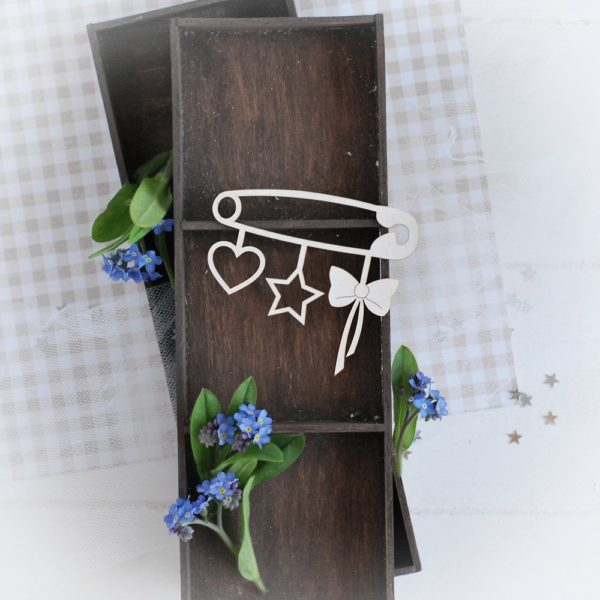 decorative laser cut chipboard safety pin with heart star and bow