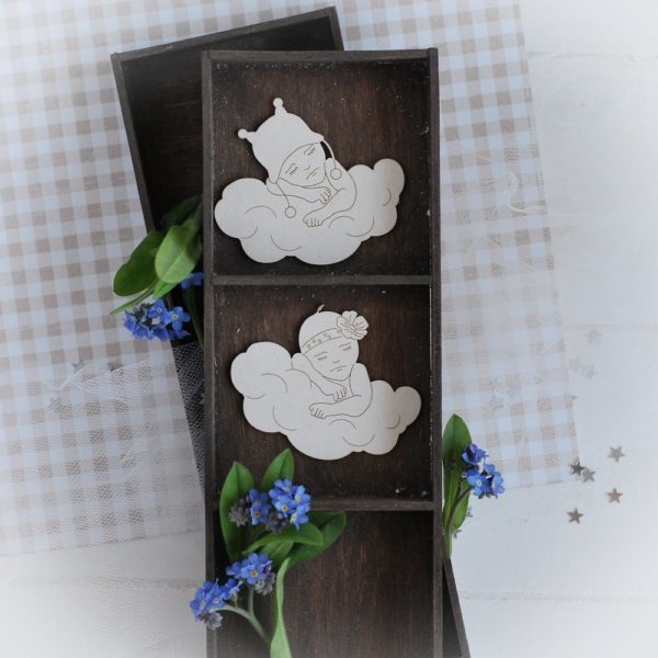 set of two decorative laser cut chipboards baby boy and baby girl sleeping on the cloud