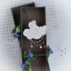 decorative laser cut chipboard baby girl sleeping on the cloud