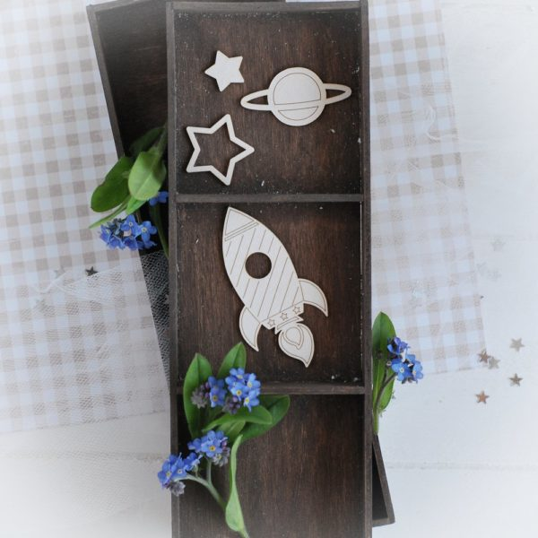 decorative laser cut chipboard rocket stars and planet