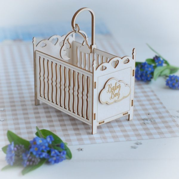 3d baby boy cot decorative laser cut chipboard