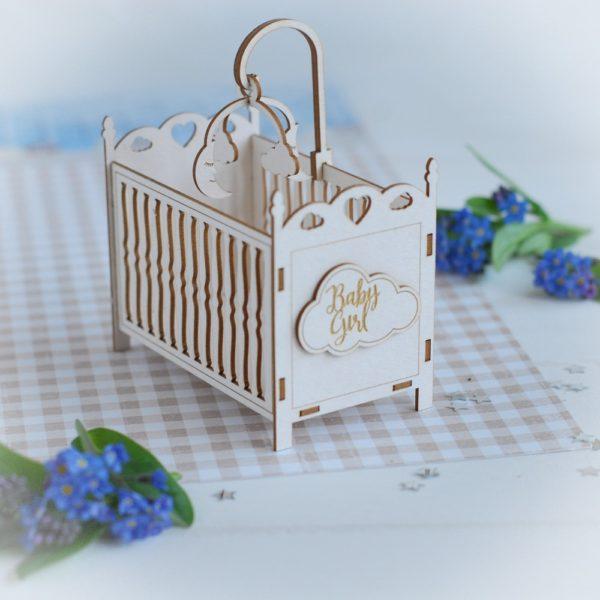 3d baby girl cot decorative laser cut chipboard