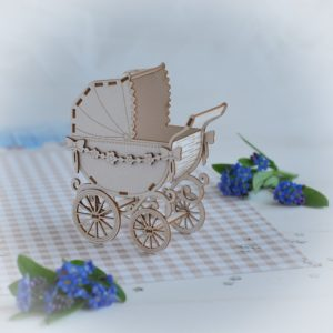 3d baby girl pram with flower garland decorative laser cut chipboard
