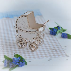 3d baby boy pram with star garland decorative laser cut chipboard
