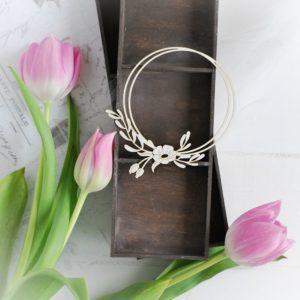 decorative laser cut frame with flower and leaves