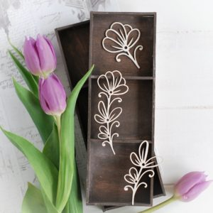 decorative laser cut chipboard floral elements set