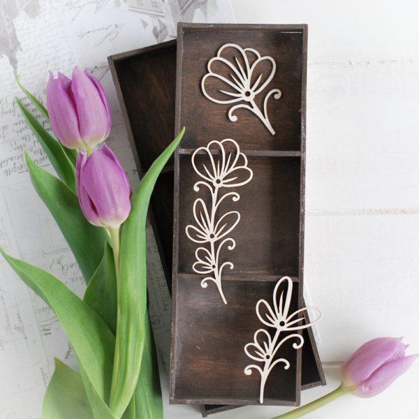 decorative laser cut chipboard floral elements set