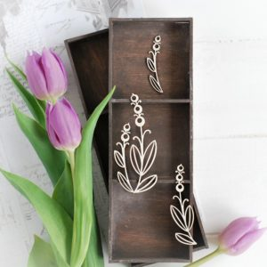 decorative laser cut chipboard floral elements