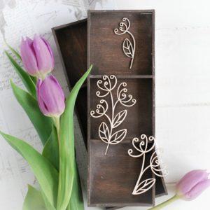 decorative laser cut chipboard floral elements