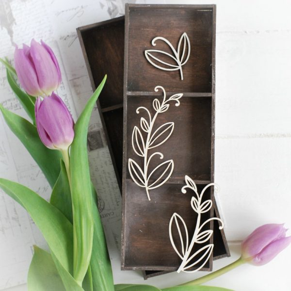 decorative floral laser cut chipboard elements