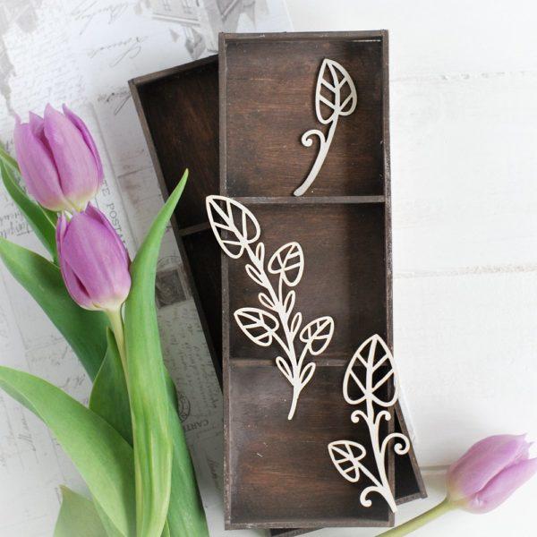 decorative laser cut chipboard set floral elements