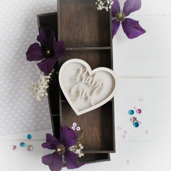new baby collection baby girl heart shaker box decorative laser cut chipboard