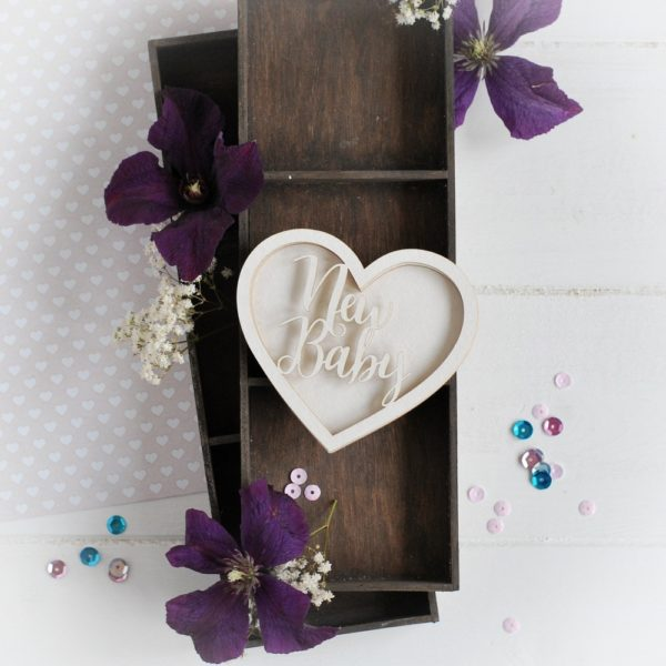 new baby heart shaker box decorative laser cut chipboard