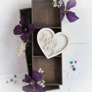 baby boy heart shaker box decorative laser cut chipboard