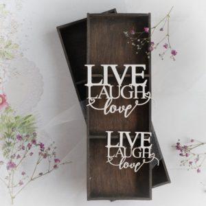 live laugh love decorative laser cut chipboard words set