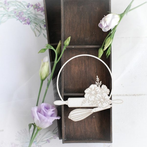 frame with flowers, rolling pin and whisk decorative laser cut chipboard