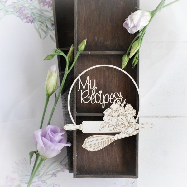 my recipes frame with rolling pin and whisk decorative laser cut chipboard