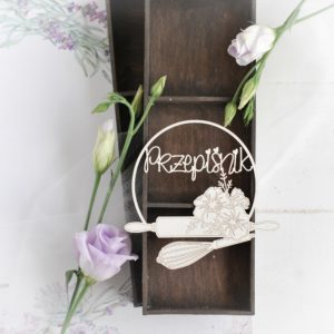 przepisnik frame with rolling pin and whisk decorative laser cut chipboard