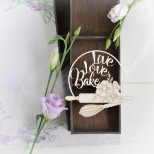 live, love, bake decorative laser cut chipboard frame with rolling pin and whisk
