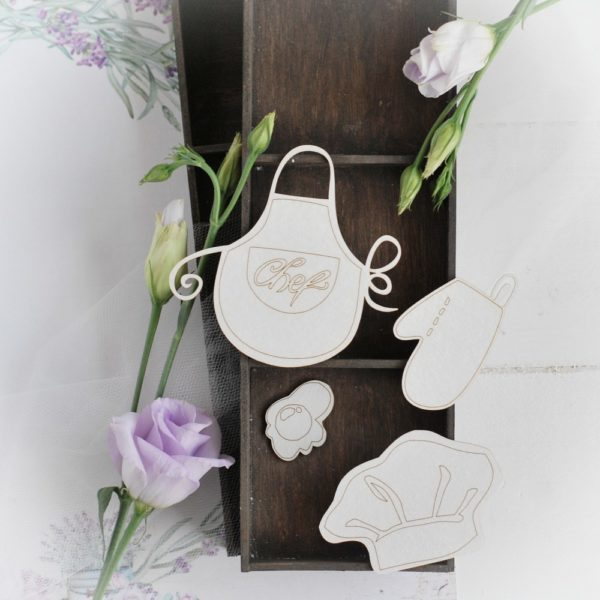chef's hat, apron, oven gove and fried egg decorative laser cut chipboards