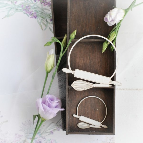 frame with rolling pin and whisk decorative laser cut chipboard