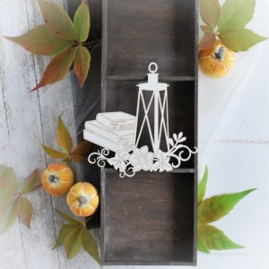 autumn halloween collection lantern with books and flowers decorative laser cut chipboards
