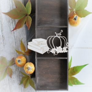 autumn halloween collection pumpkin with books and flowers decorative laser cut chipboard