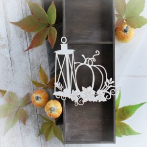 autumn halloween collection lantern and pumpkin with flower comosition decorative laser cut chipboard